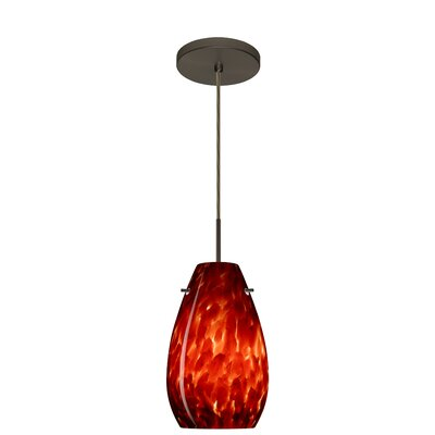 Pera 1-Light Pendant Finish: Bronze, Glass Shade: Garnet