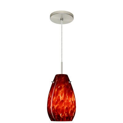 Pera 1-Light Pendant Finish: Satin Nickel, Glass Shade: Garnet, Bulb Type: LED