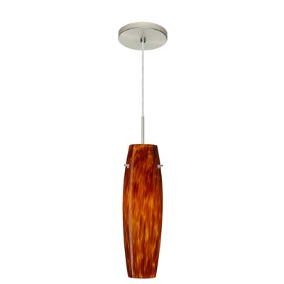 Suzi 1-Light Mini Pendant Finish: Satin Nickel, Glass Shade: Amber Cloud, Bulb Type: LED