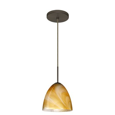 Vila 1-Light Pendant Finish: Bronze, Glass Shade: Honey