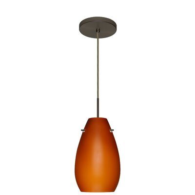 Pera 1-Light Pendant Finish: Bronze, Glass Shade: Amber Matte