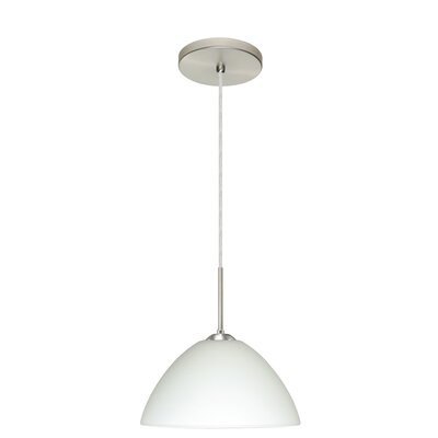 Tessa 1-Light Pendant Finish: Satin Nickel, Glass Shade: White, Bulb Type: LED