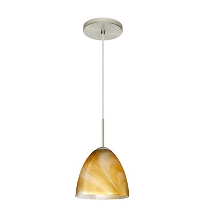 Vila 1-Light Pendant Finish: Satin Nickel, Glass Shade: Honey, Bulb Type: LED