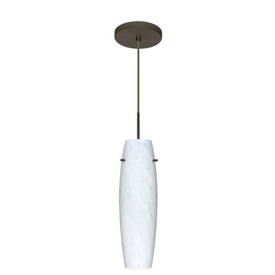 Suzi 1-Light Mini Pendant Finish: Bronze, Glass Shade: Blue Cloud, Bulb Type: Incandescent