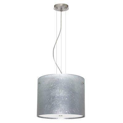 Tamburo 3 Light Drum Pendant Finish: Satin Nickel, Glass Shade: Silver Foil, Bulb Type: LED