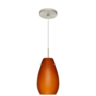 Pera 1-Light Pendant Finish: Satin Nickel, Glass Shade: Amber Matte, Bulb Type: LED