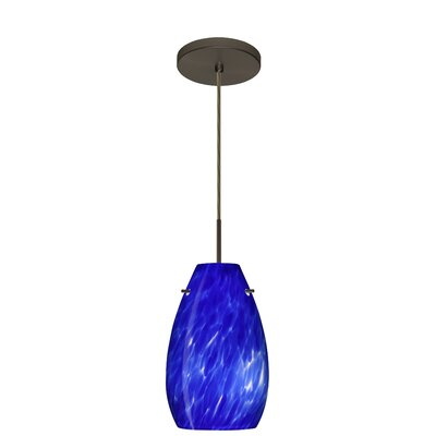 Pera 1-Light Pendant Finish: Bronze, Glass Shade: Blue Cloud