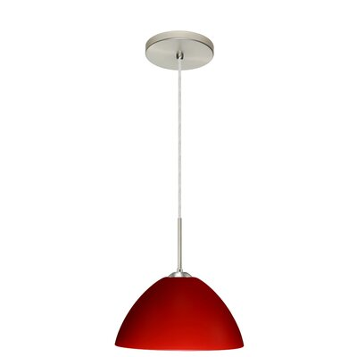 Tessa 1-Light Pendant Finish: Satin Nickel, Glass Shade: Red Matte, Bulb Type: LED