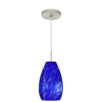 Pera 1-Light Pendant Finish: Satin Nickel, Glass Shade: Blue Cloud