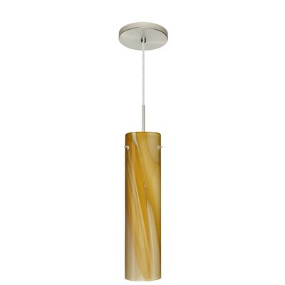 Stilo 1-Light Mini Pendant Finish: Satin Nickel, Glass Shade: Honey, Bulb Type: LED