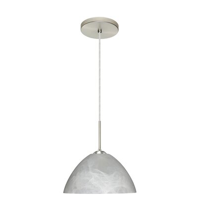 Tessa 1-Light Pendant Finish: Satin Nickel, Glass Shade: Marble, Bulb Type: LED