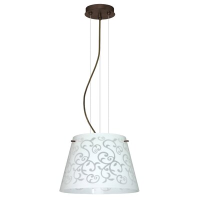 Amelia 1-Light Pendant Finish: Bronze, Glass Shade: White Damask