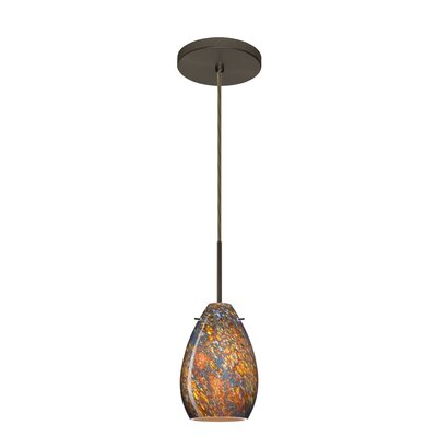 Pera 1-Light Mini Pendant Finish: Bronze, Glass Shade: Ceylon, Bulb Type: Incandescent