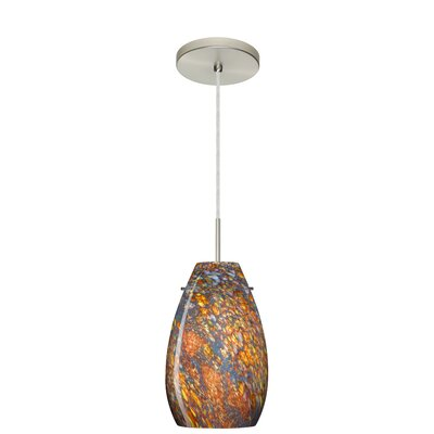Pera 1-Light Pendant Finish: Satin Nickel, Glass Shade: Ceylon, Bulb Type: LED