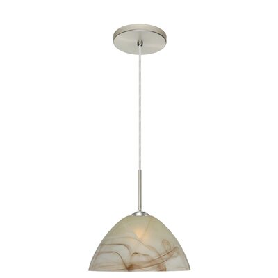 Tessa 1-Light Pendant Finish: Satin Nickel, Glass Shade: Mocha, Bulb Type: LED