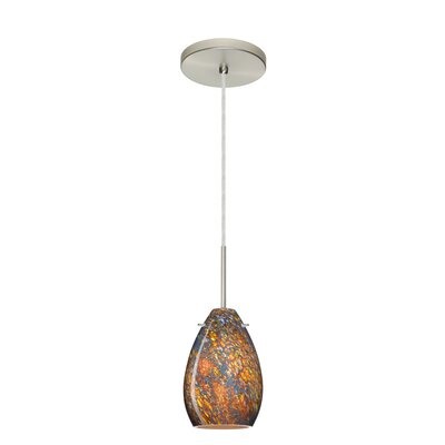 Pera 1-Light Mini Pendant Bulb Type: Incandescent, Finish: Satin Nickel, Glass Shade: Ceylon