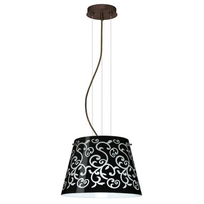 Amelia 1-Light Pendant Finish: Bronze, Glass Shade: Black Damask