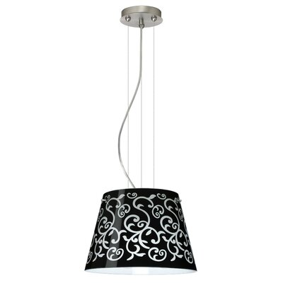 Amelia 1 Bulb Drum Pendant Finish: Satin Nickel, Shade Color: Black