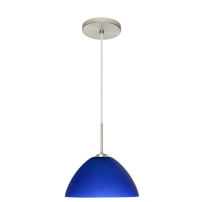 Tessa 1-Light Pendant Finish: Satin Nickel, Glass Shade: Blue, Bulb Type: Incandescent