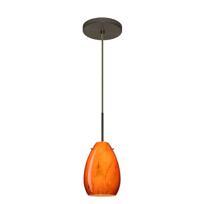Pera 1-Light Mini Pendant Finish: Bronze, Glass Shade: Habanero, Bulb Type: Incandescent