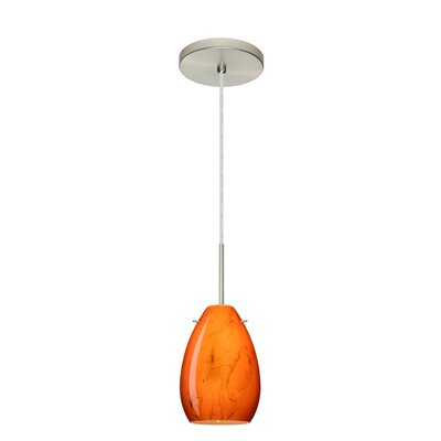 Pera 1-Light Mini Pendant Bulb Type: Incandescent, Finish: Satin Nickel, Glass Shade: Habanero