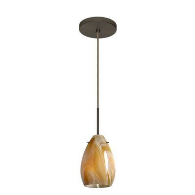 Pera 1-Light Mini Pendant Bulb Type: Incandescent, Finish: Bronze, Glass Shade: Honey