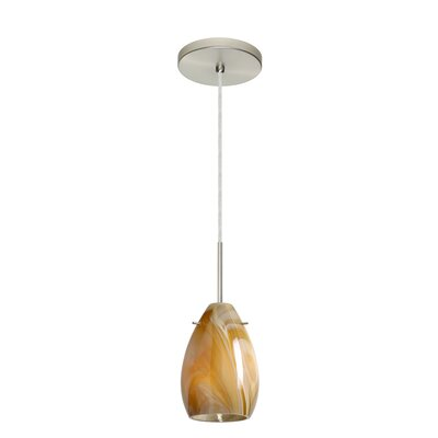 Pera 1-Light Mini Pendant Finish: Satin Nickel, Glass Shade: Honey, Bulb Type: Incandescent