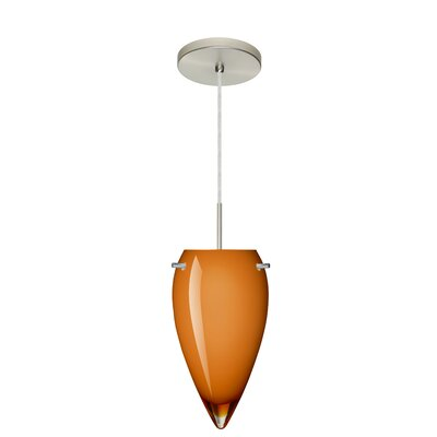 Juli 1-Light Pendant Finish: Satin Nickel, Glass Shade: Amber Glossy