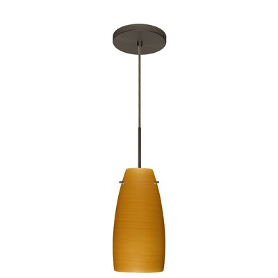 Tao 1-Light Pendant Finish: Bronze, Glass Shade: Oak, Bulb Type: Incandescent