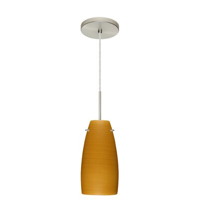 Tao 1-Light Pendant Finish: Satin Nickel, Glass Shade: Oak, Bulb Type: Incandescent