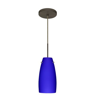Tao 1-Light Pendant Finish: Bronze, Glass Shade: Cobalt Blue Matte, Bulb Type: LED
