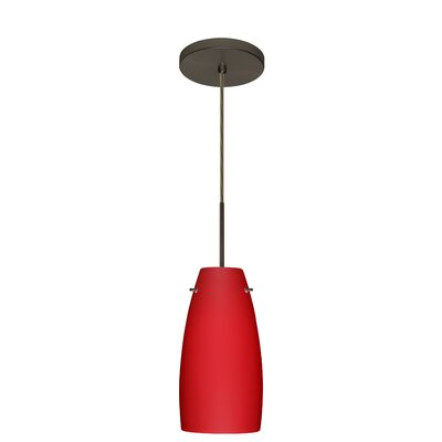 Tao 1-Light Pendant Finish: Bronze, Glass Shade: Ruby Matte, Bulb Type: LED