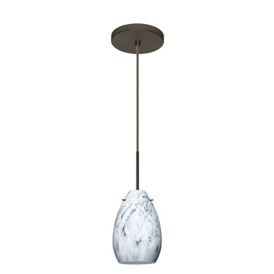 Pera 1-Light Mini Pendant Bulb Type: Incandescent, Finish: Bronze, Glass Shade: Marble Grigio