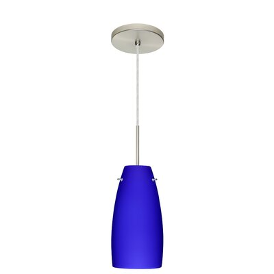 Tao 1-Light Pendant Finish: Satin Nickel, Glass Shade: Cobalt Blue Matte, Bulb Type: LED