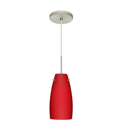 Tao 1-Light Pendant Finish: Satin Nickel, Glass Shade: Ruby Matte, Bulb Type: Incandescent