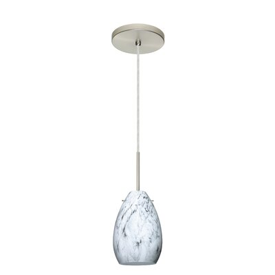 Pera 1-Light Mini Pendant Finish: Satin Nickel, Glass Shade: Marble Grigio, Bulb Type: Incandescent