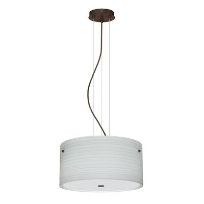 Tamburo 3 Light LED Drum Pendant Finish: Bronze, Shade Color: Chalk