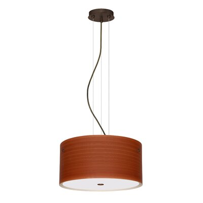 Tamburo 3 Light LED Drum Pendant Finish: Bronze, Shade Color: Cherry