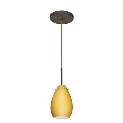 Pera 1-Light Mini Pendant Finish: Bronze, Glass Shade: Vanilla Matte, Bulb Type: Incandescent