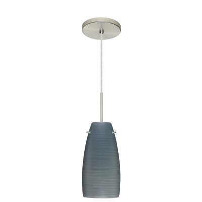 Tao 1-Light Pendant Finish: Satin Nickel, Glass Shade: Titan, Bulb Type: Incandescent