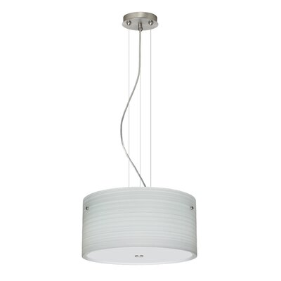 Tamburo 3 Light LED Drum Pendant Finish: Satin Nickel, Shade Color: Chalk