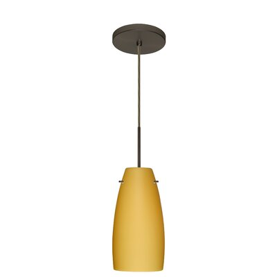 Tao 1-Light Pendant Finish: Bronze, Glass Shade: Vanilla Matte, Bulb Type: LED