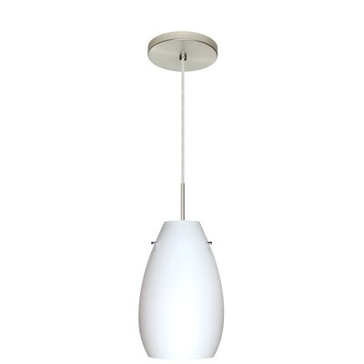 Pera 1-Light Pendant Finish: Satin Nickel, Glass Shade: Opal Matte, Bulb Type: LED