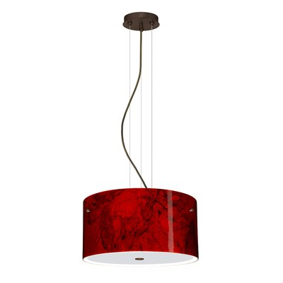 Tamburo 3 Light LED Drum Pendant Finish: Bronze, Shade Color: Magma