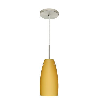 Tao 1-Light Pendant Finish: Satin Nickel, Glass Shade: Vanilla Matte, Bulb Type: Incandescent