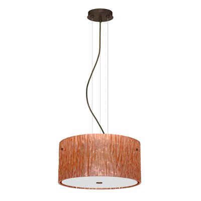 Tamburo 3 Light LED Drum Pendant Shade Color: Stone Copper Foil, Finish: Bronze