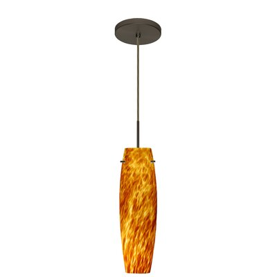 Tutu 1-Light Mini Pendant Finish: Bronze, Glass Shade: Amber Cloud, Bulb Type: Xenon or Incandescent