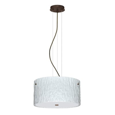 Tamburo 3 Light LED Drum Pendant Finish: Bronze, Shade Color: Opal Stone