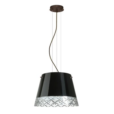 Amelia 3-Light Drum Pendant Finish: Brushed Bronze, Shade Color: Black