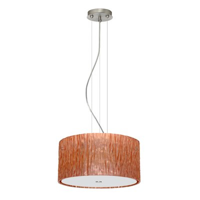 Tamburo 3 Light LED Drum Pendant Finish: Satin Nickel, Shade Color: Stone Copper Foil